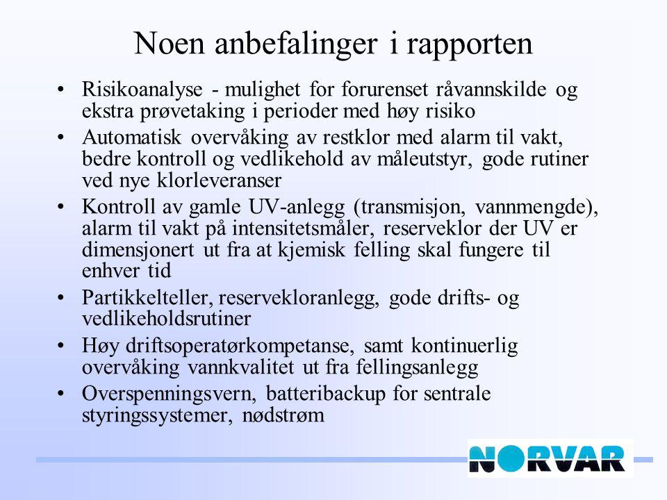 Noen anbefalinger i rapporten