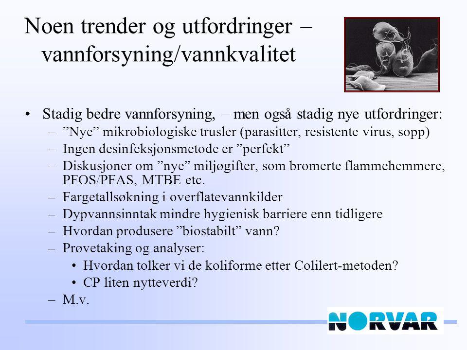 Noen trender og utfordringer – vannforsyning/vannkvalitet