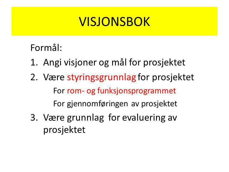 VISJONSBOK Formål: Angi visjoner og mål for prosjektet