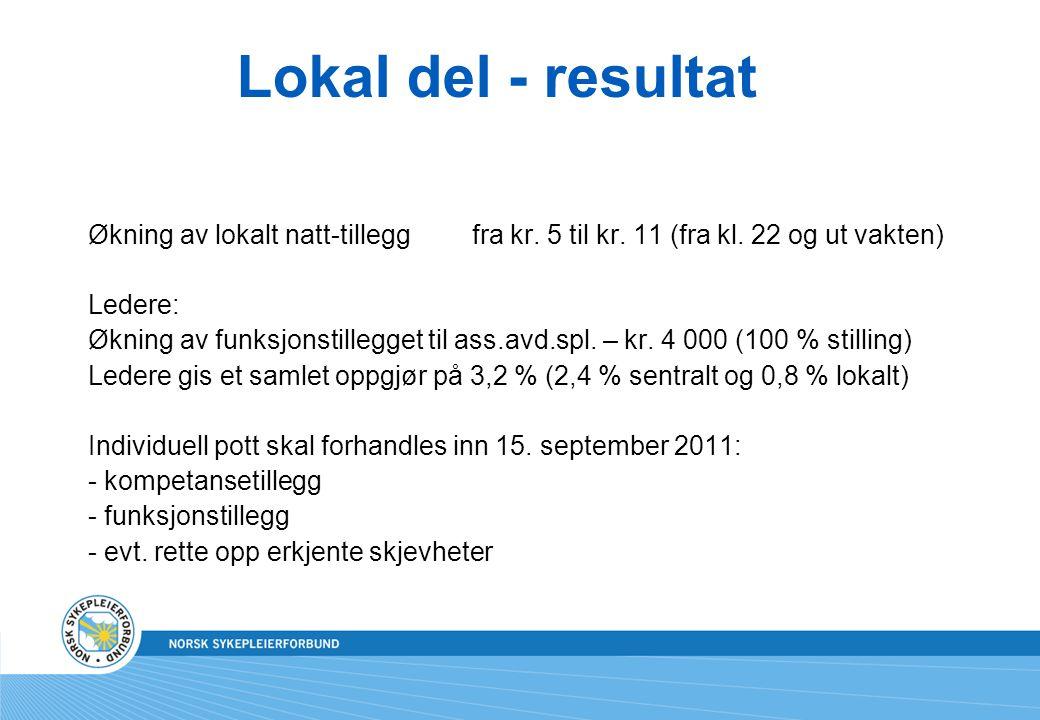 Lokal del - resultat Økning av lokalt natt-tillegg fra kr. 5 til kr. 11 (fra kl. 22 og ut vakten) Ledere:
