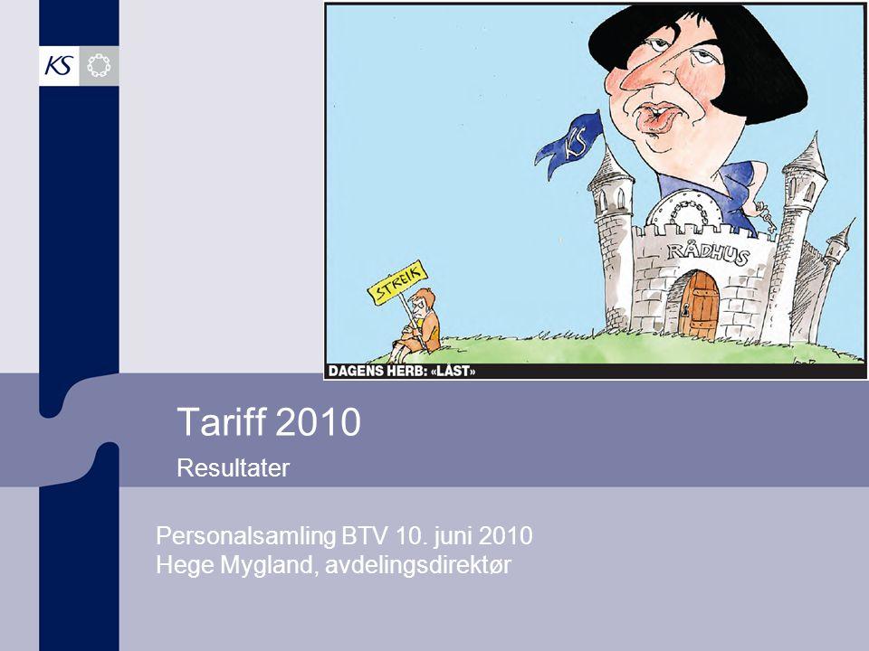 Tariff 2010 Dette er en tittelside. Resultater. Personalsamling BTV 10. juni 2010 Hege Mygland, avdelingsdirektør.