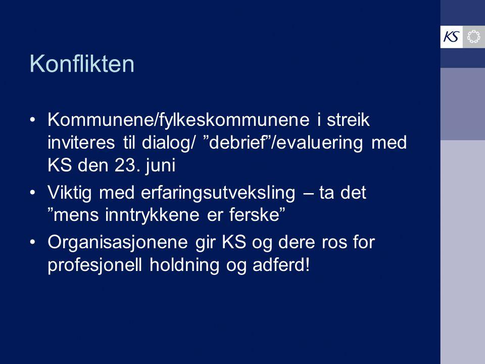 Konflikten Kommunene/fylkeskommunene i streik inviteres til dialog/ debrief /evaluering med KS den 23. juni.