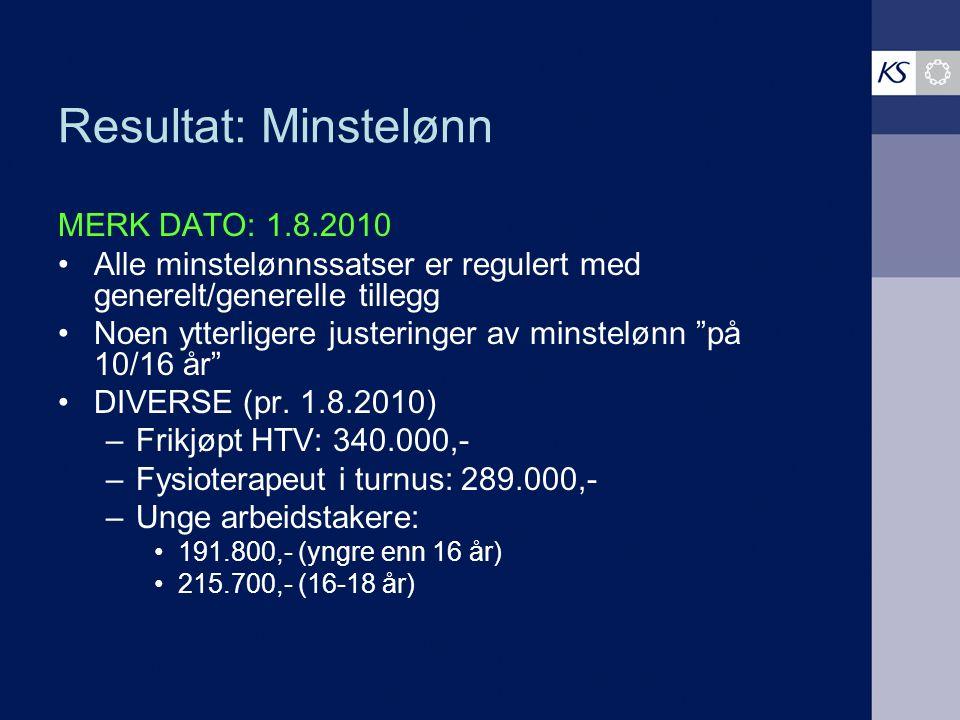 Resultat: Minstelønn MERK DATO: 1.8.2010