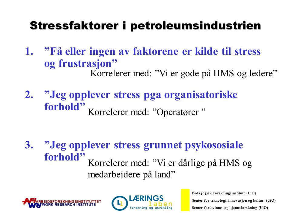 Stressfaktorer i petroleumsindustrien