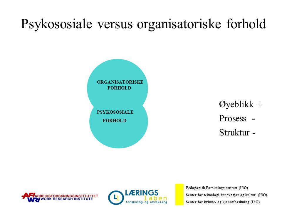 Psykososiale versus organisatoriske forhold