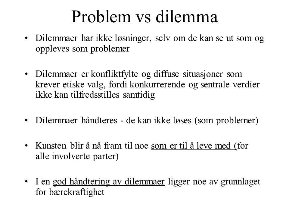 Problem vs dilemma Dilemmaer har ikke løsninger, selv om de kan se ut som og oppleves som problemer.