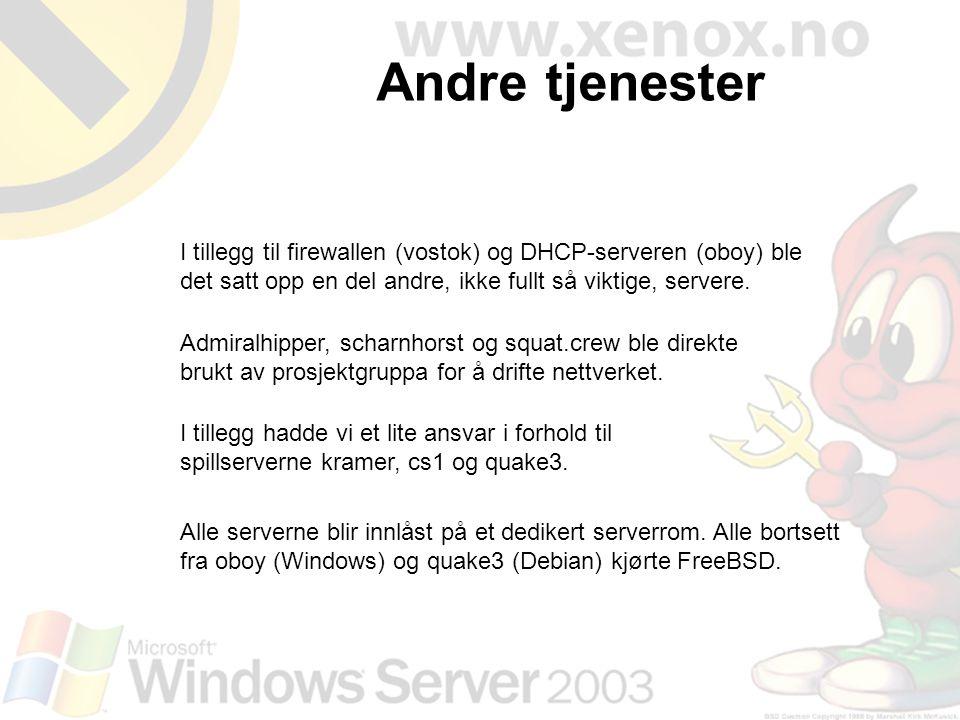 Andre tjenester I tillegg til firewallen (vostok) og DHCP-serveren (oboy) ble det satt opp en del andre, ikke fullt så viktige, servere.