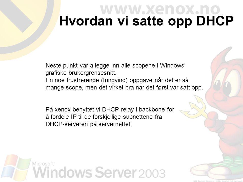 Hvordan vi satte opp DHCP