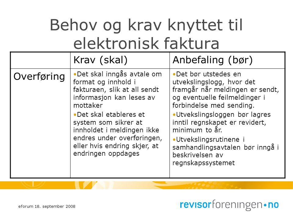 Behov og krav knyttet til elektronisk faktura