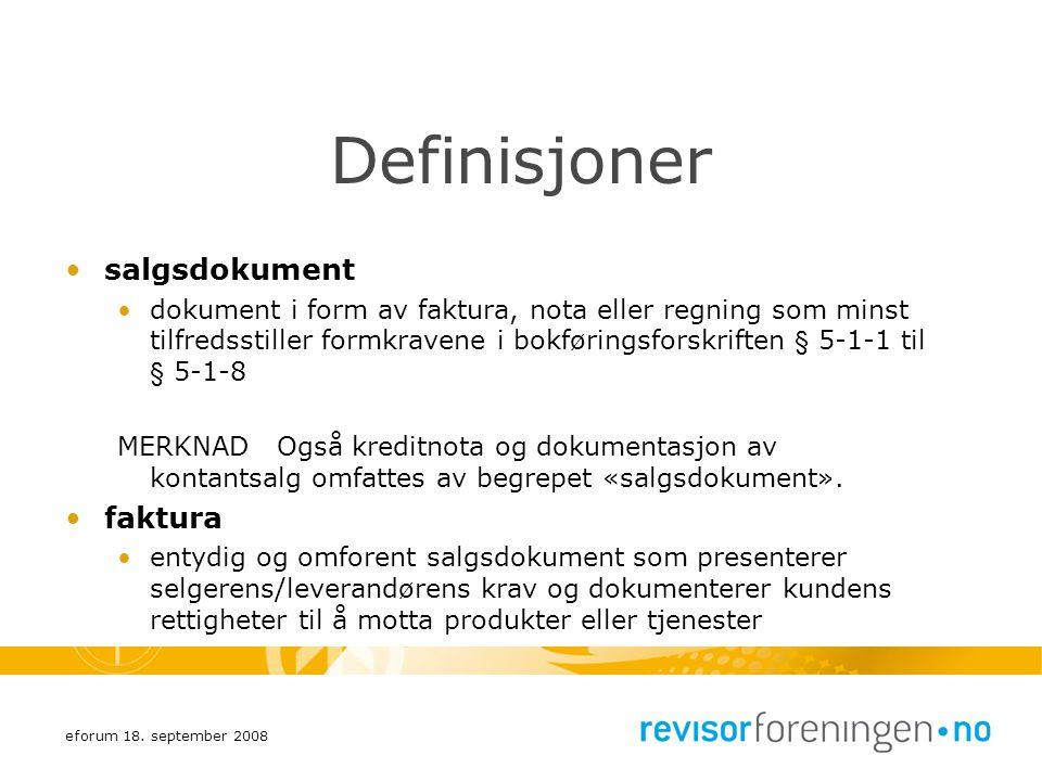 Definisjoner salgsdokument faktura