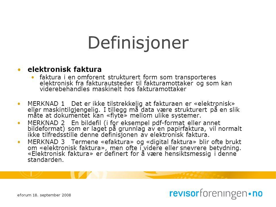 Definisjoner elektronisk faktura