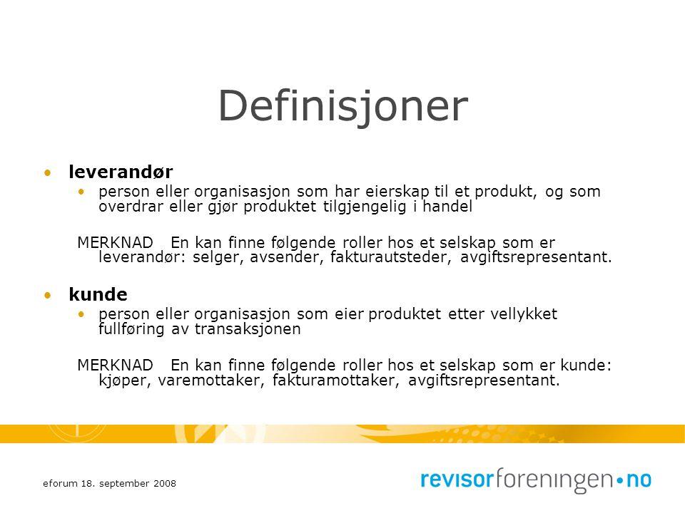 Definisjoner leverandør kunde