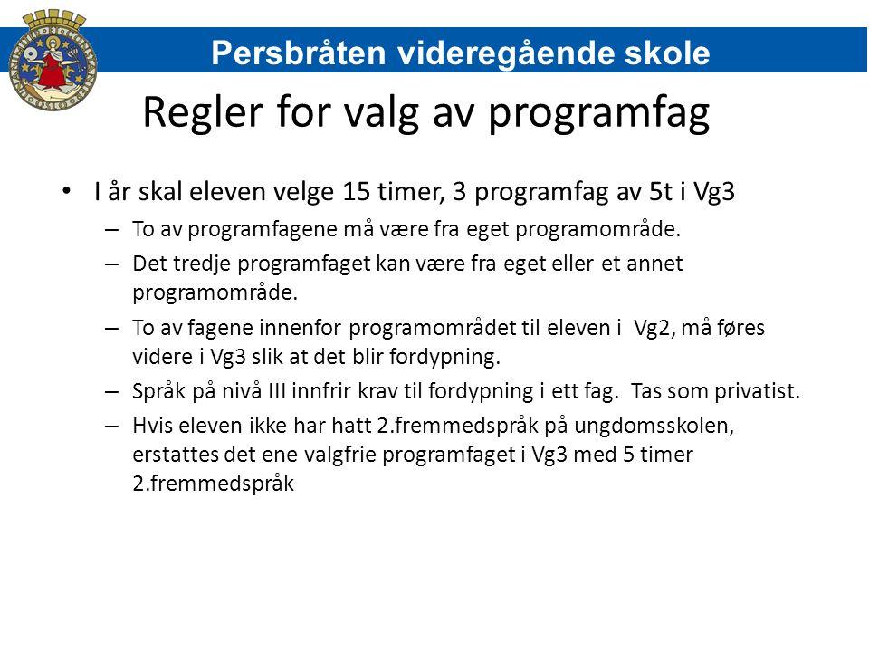 Regler for valg av programfag