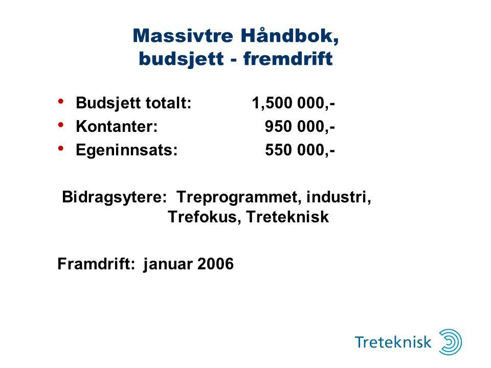 Massivtre Håndbok, budsjett - fremdrift