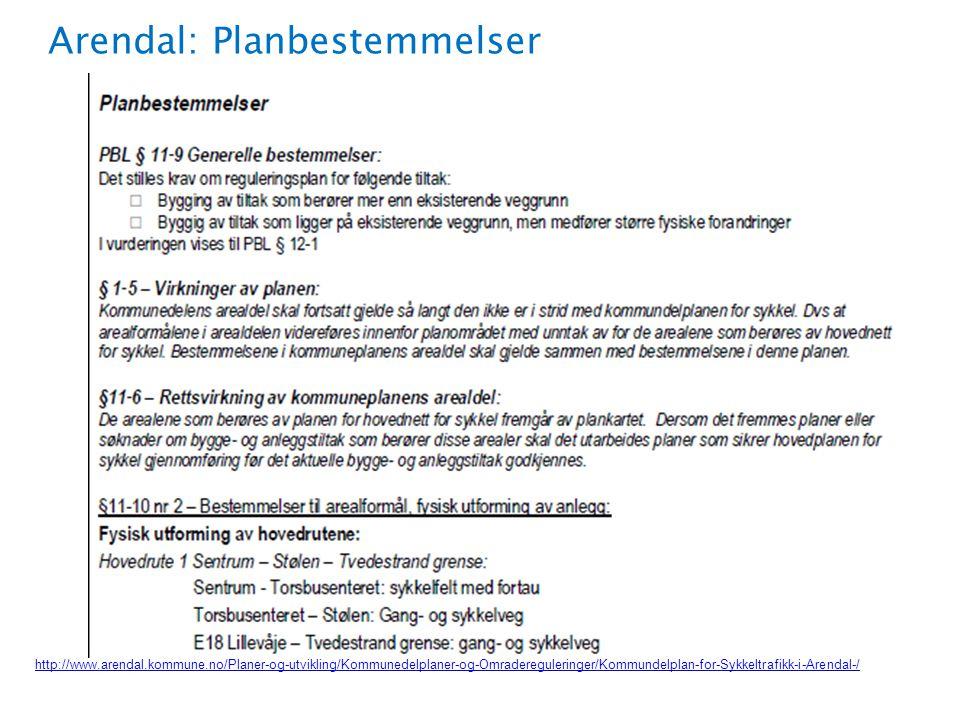 Arendal: Planbestemmelser