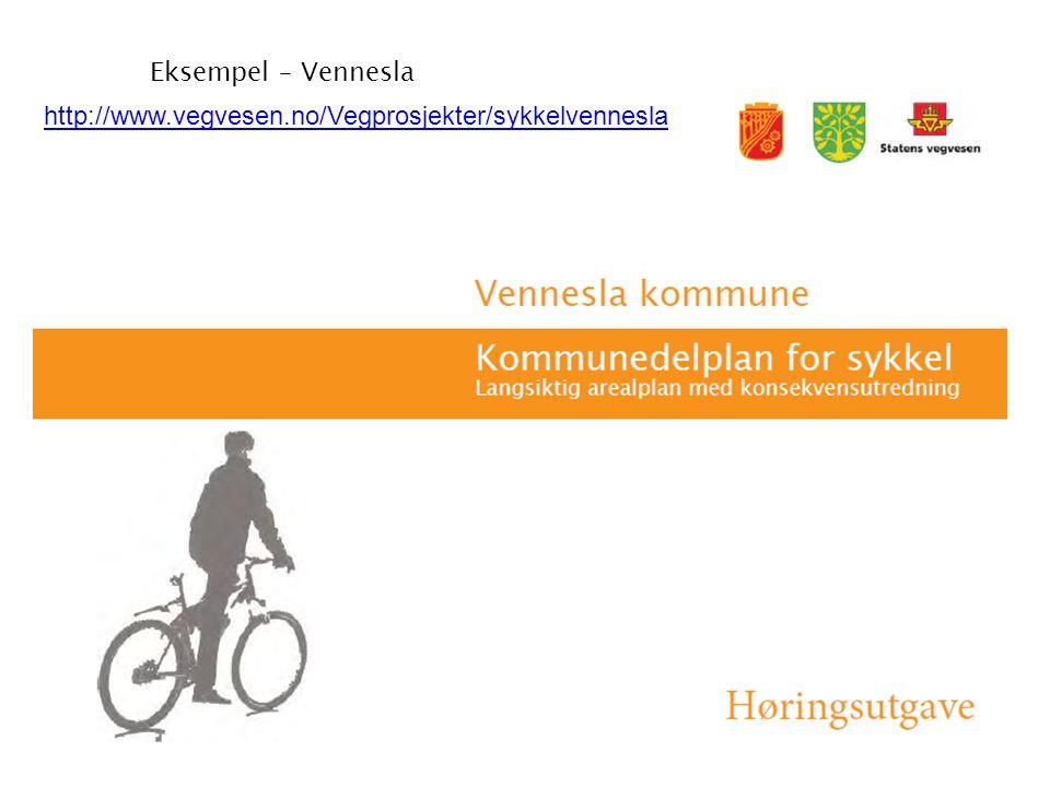 Eksempel – Vennesla http://www.vegvesen.no/Vegprosjekter/sykkelvennesla