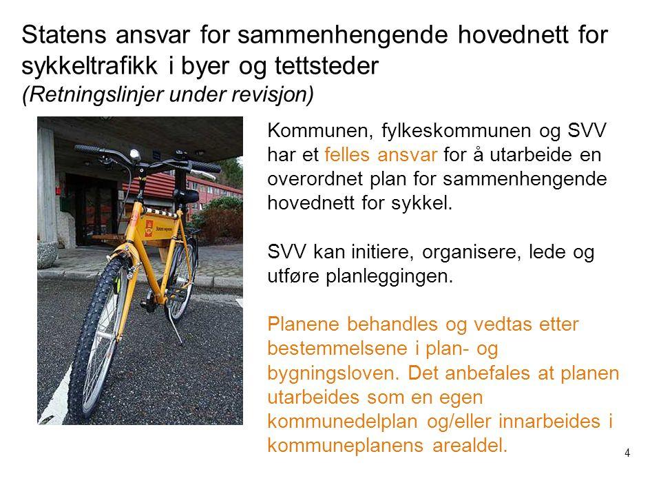 Statens ansvar for sammenhengende hovednett for sykkeltrafikk i byer og tettsteder (Retningslinjer under revisjon)