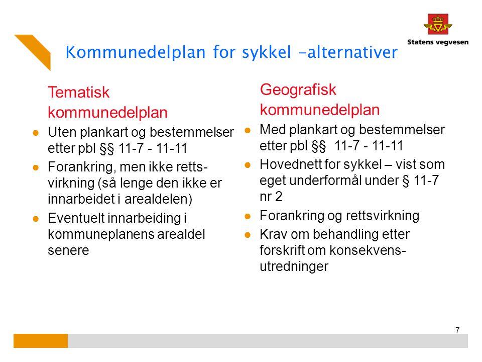Kommunedelplan for sykkel -alternativer