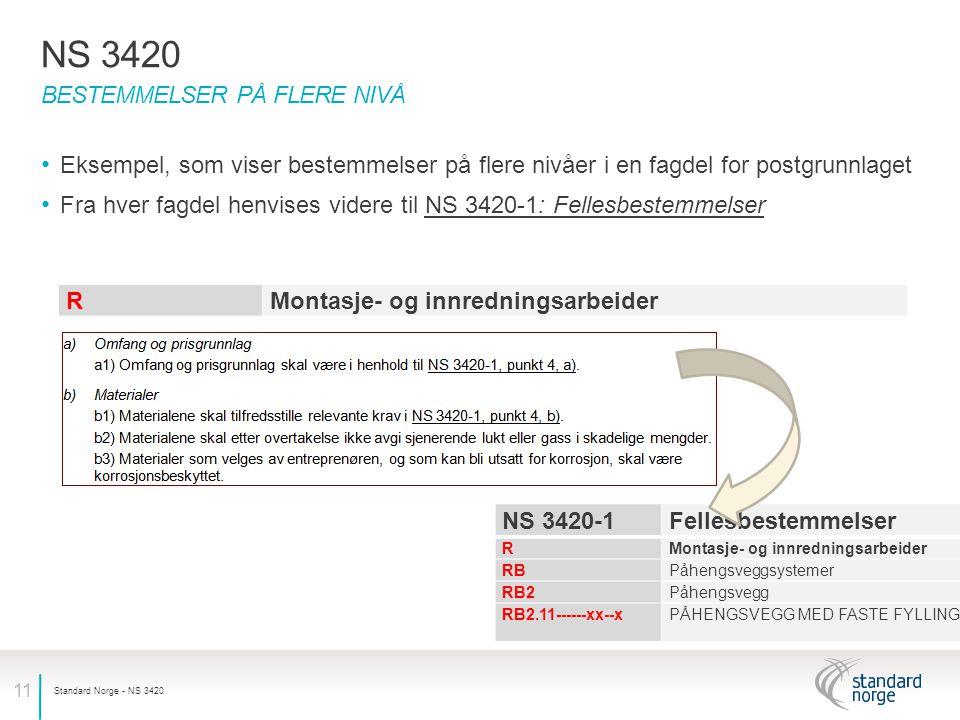 NS 3420 Bestemmelser på flere nivå