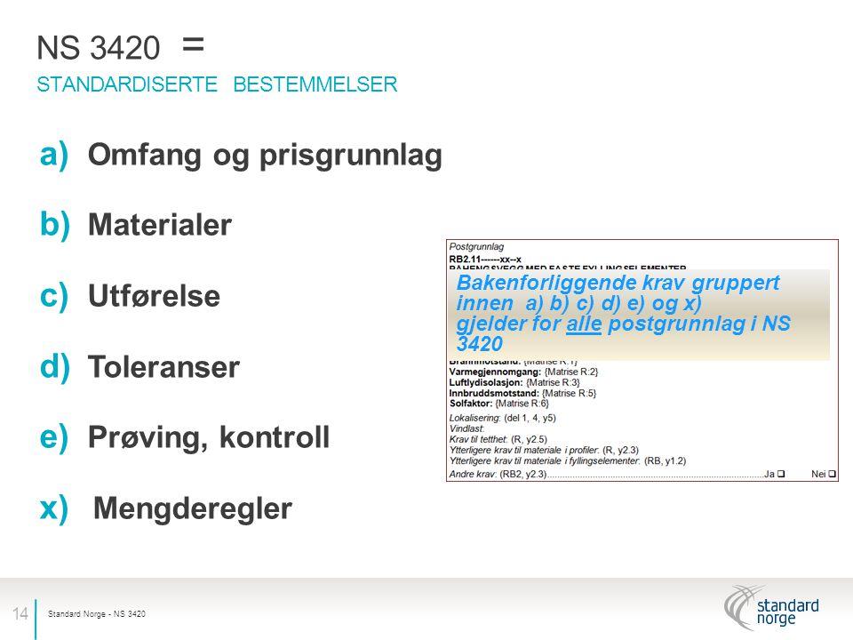NS 3420 = Omfang og prisgrunnlag Materialer Utførelse Toleranser