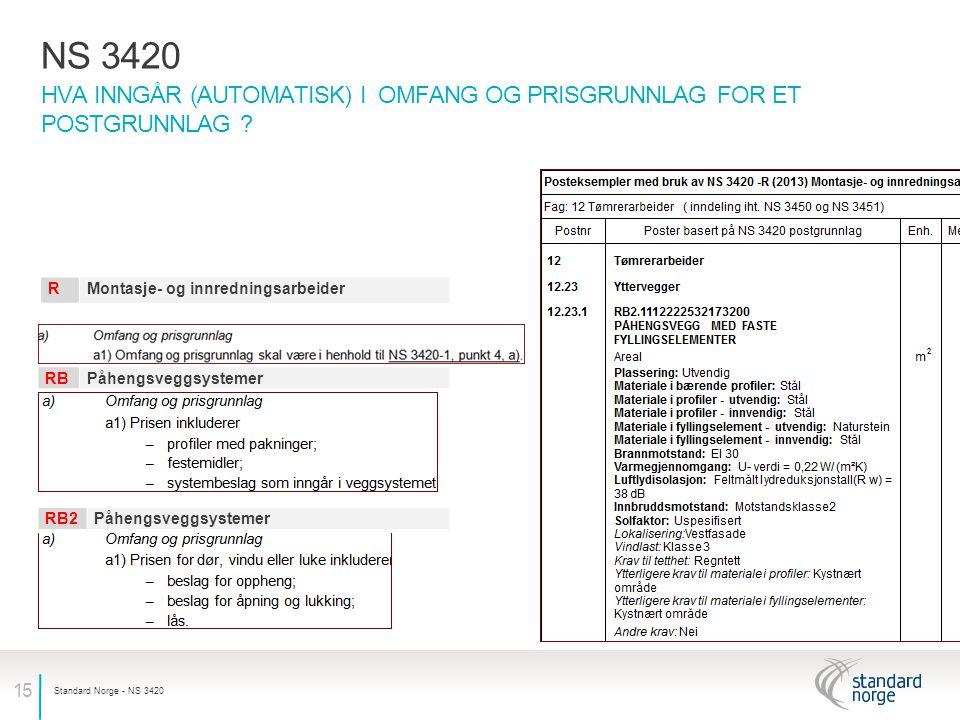 NS 3420 Hva inngår (automatisk) i omfang og prisgrunnlag for et postgrunnlag R. Montasje- og innredningsarbeider.