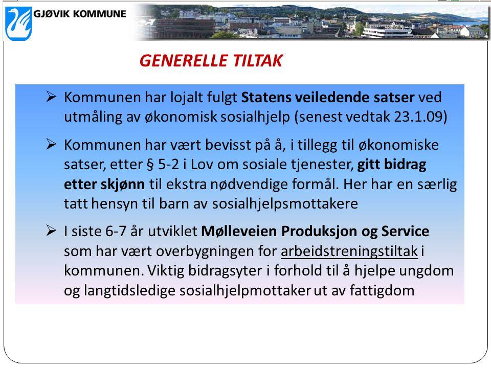 GENERELLE TILTAK Kommunen har lojalt fulgt Statens veiledende satser ved utmåling av økonomisk sosialhjelp (senest vedtak 23.1.09)