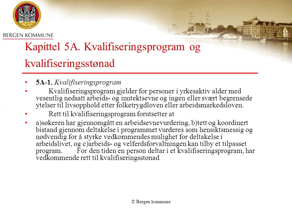 Kapittel 5A. Kvalifiseringsprogram og kvalifiseringsstønad