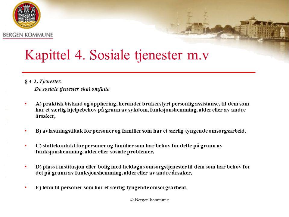 Kapittel 4. Sosiale tjenester m.v
