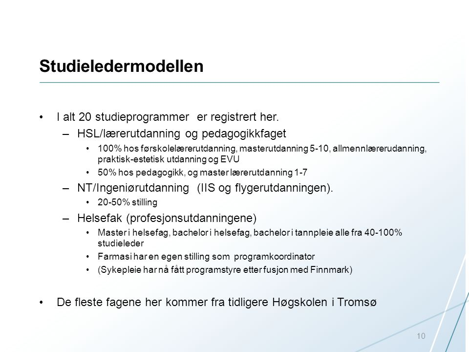 Studieledermodellen I alt 20 studieprogrammer er registrert her.