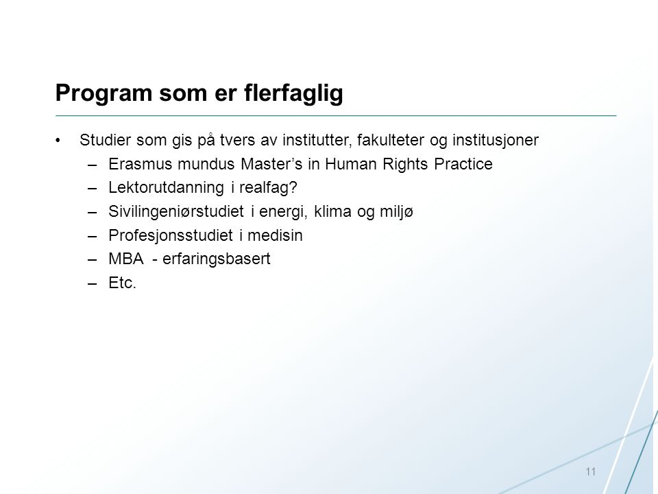 Program som er flerfaglig