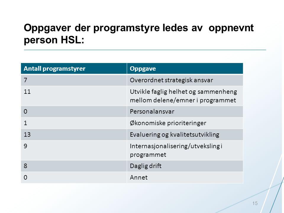 Oppgaver der programstyre ledes av oppnevnt person HSL: