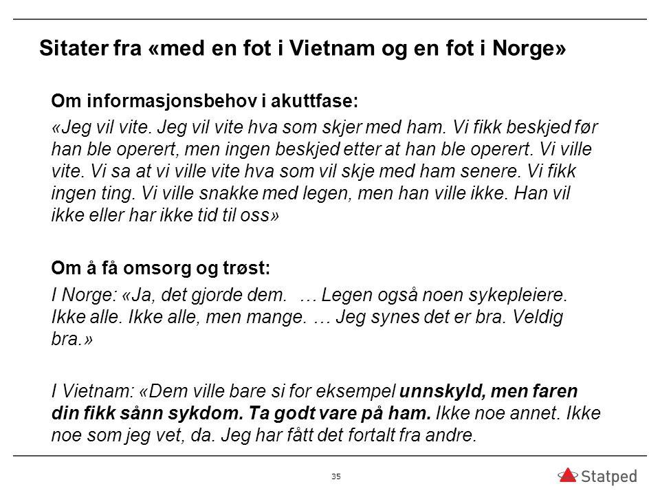 Sitater fra «med en fot i Vietnam og en fot i Norge»
