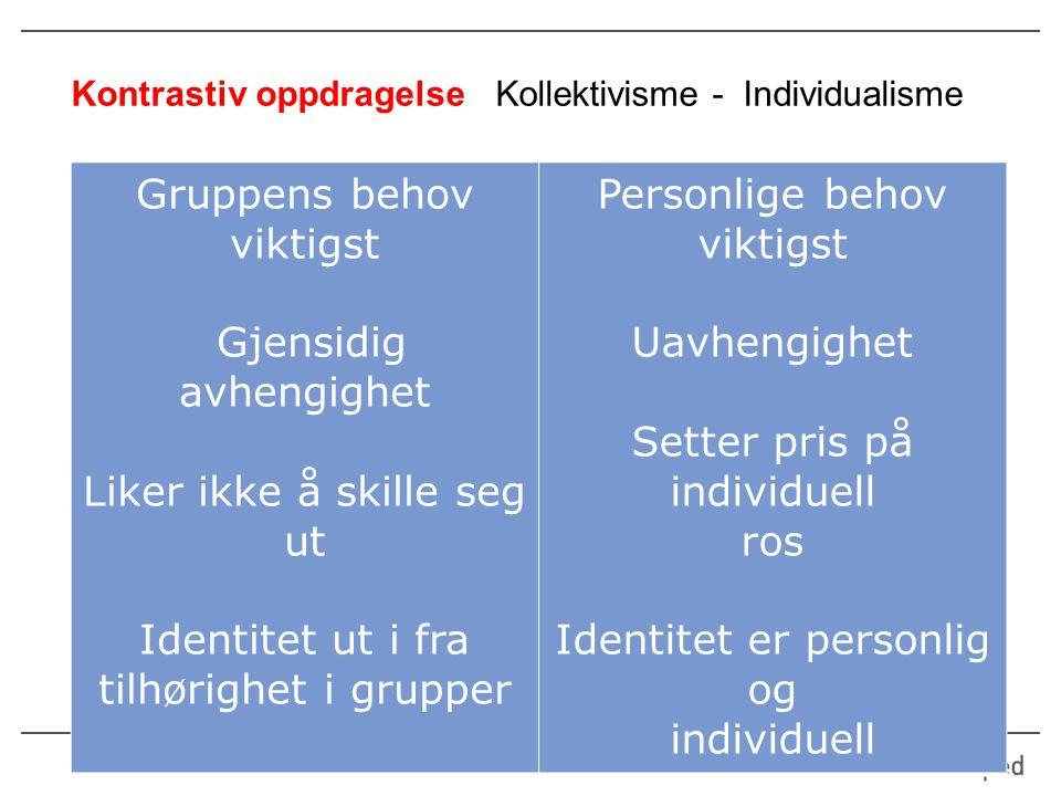 Kontrastiv oppdragelse Kollektivisme - Individualisme