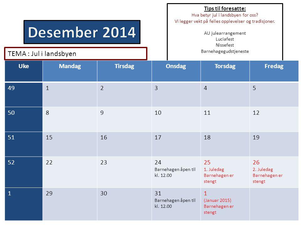 Desember 2014 TEMA : Jul i landsbyen Uke Mandag Tirsdag Onsdag Torsdag