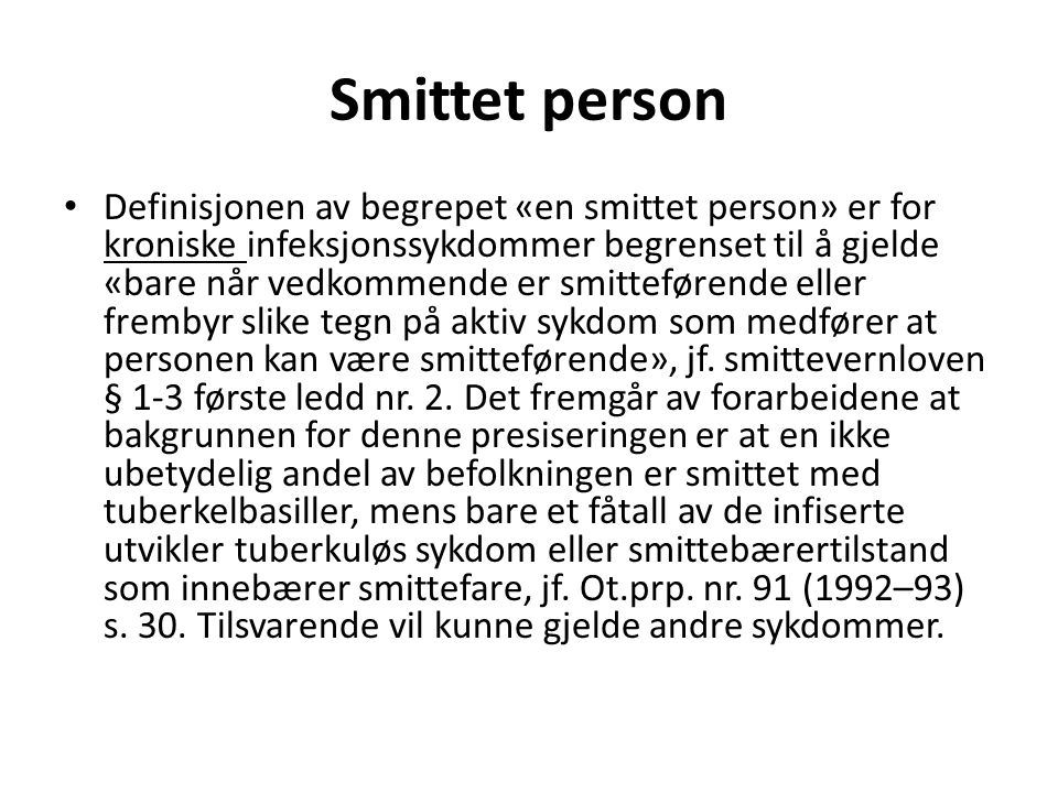 Smittet person