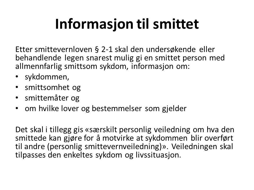Informasjon til smittet