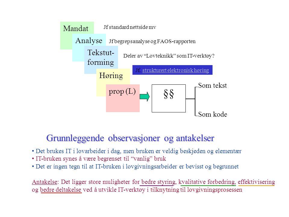 §§ Grunnleggende observasjoner og antakelser Mandat Analyse
