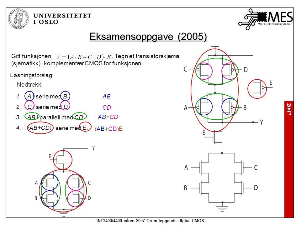 INF3400/4400 våren 2007 Grunnleggende digital CMOS