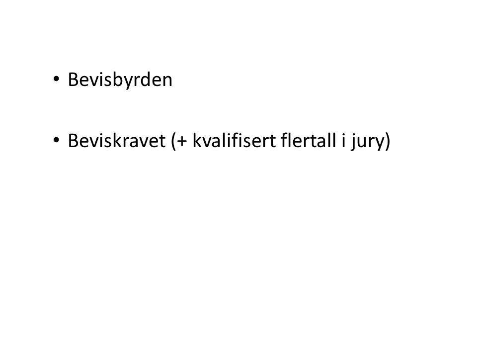 Bevisbyrden Beviskravet (+ kvalifisert flertall i jury)