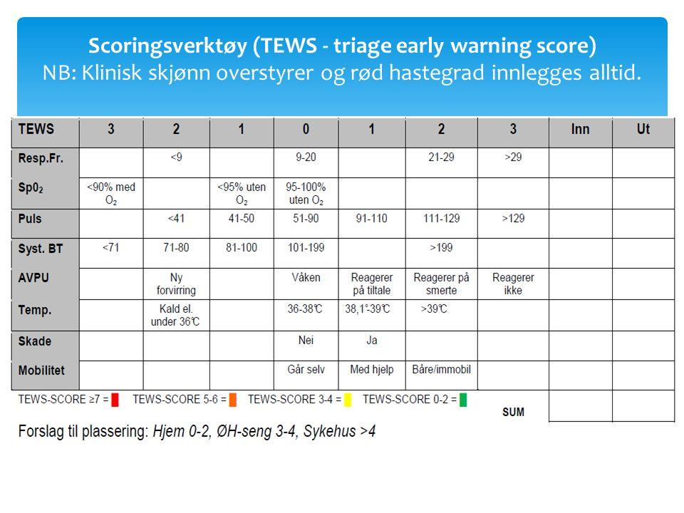 Scoringsverktøy (TEWS - triage early warning score) NB: Klinisk skjønn overstyrer og rød hastegrad innlegges alltid.