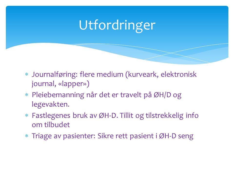 Utfordringer Journalføring: flere medium (kurveark, elektronisk journal, «lapper») Pleiebemanning når det er travelt på ØH/D og legevakten.