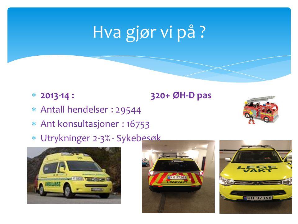 Hva gjør vi på 2013-14 : 320+ ØH-D pas Antall hendelser : 29544