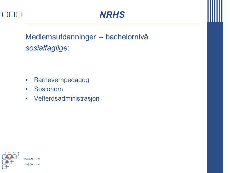 NRHS Medlemsutdanninger – bachelornivå sosialfaglige: Barnevernpedagog