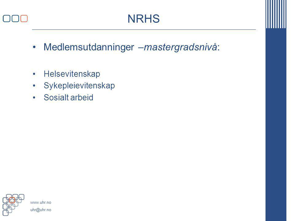 NRHS Medlemsutdanninger –mastergradsnivå: Helsevitenskap