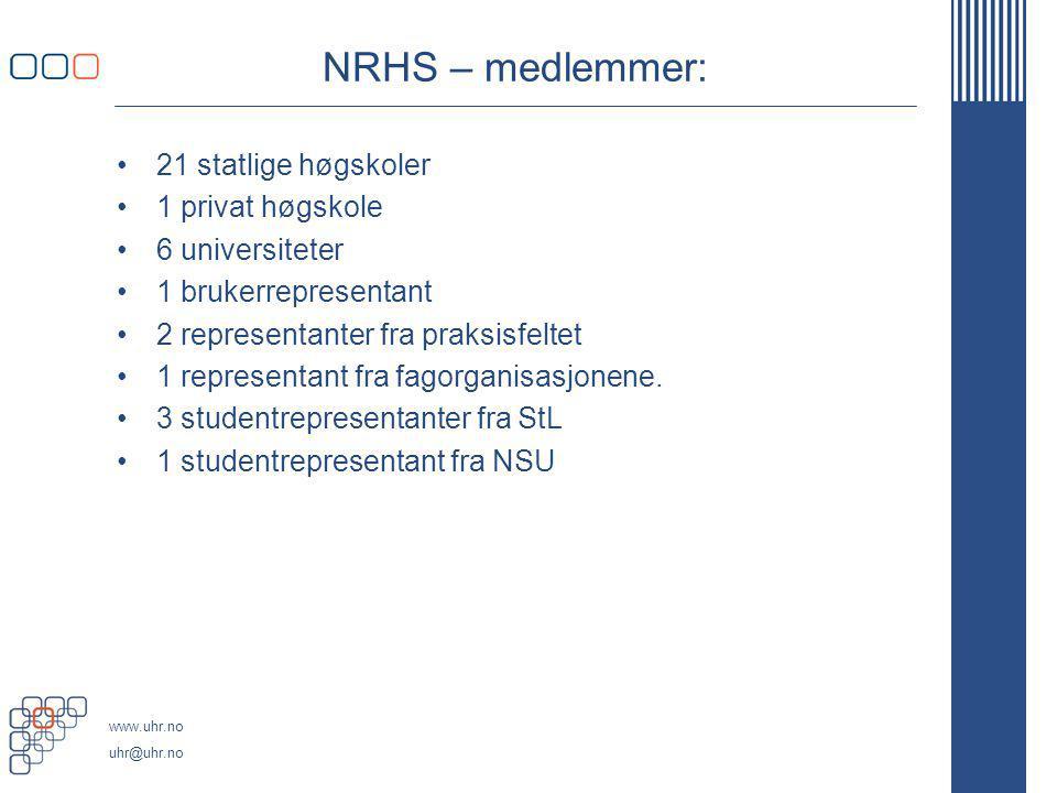 NRHS – medlemmer: 21 statlige høgskoler 1 privat høgskole
