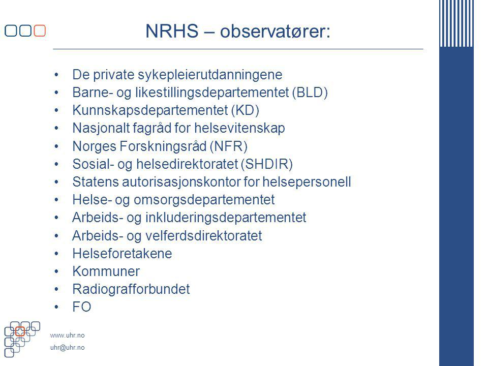 NRHS – observatører: De private sykepleierutdanningene