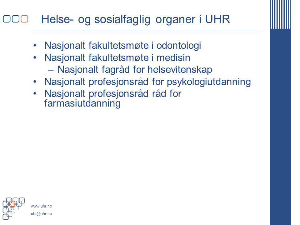 Helse- og sosialfaglig organer i UHR