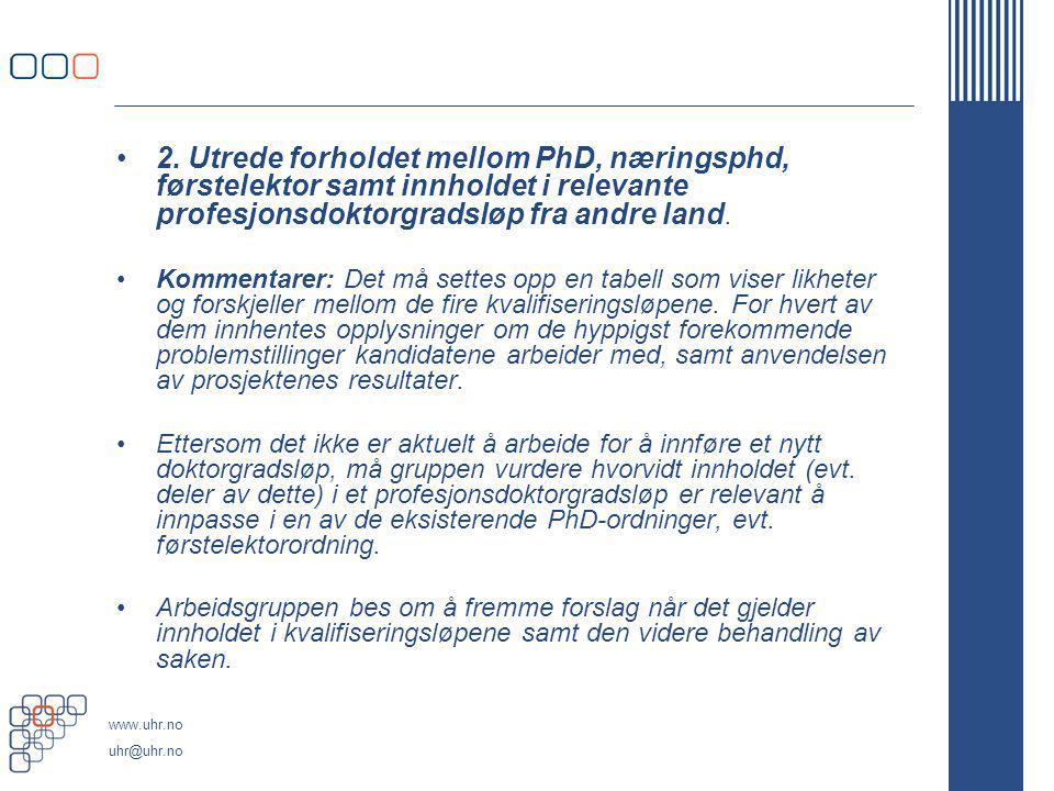 2. Utrede forholdet mellom PhD, næringsphd, førstelektor samt innholdet i relevante profesjonsdoktorgradsløp fra andre land.