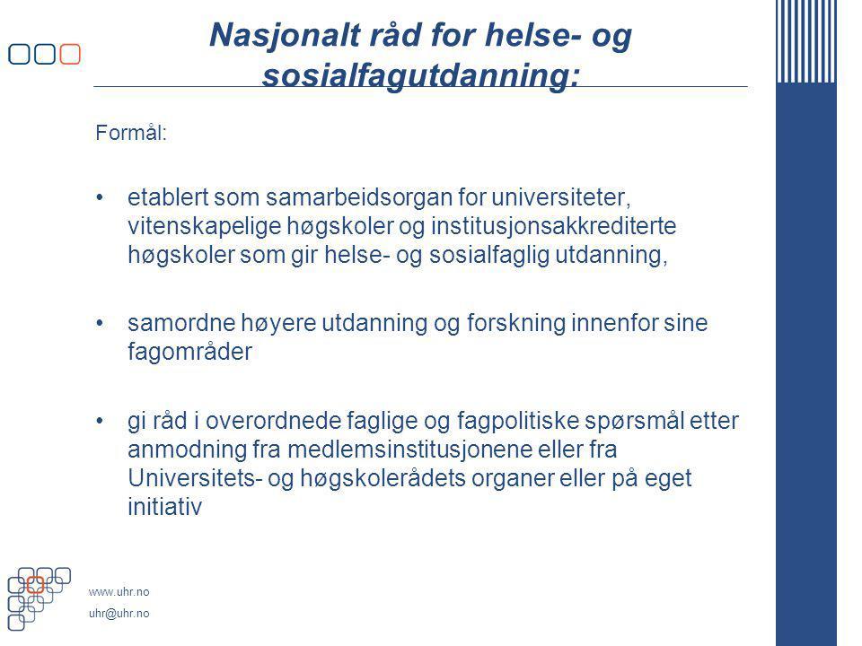 Nasjonalt råd for helse- og sosialfagutdanning: