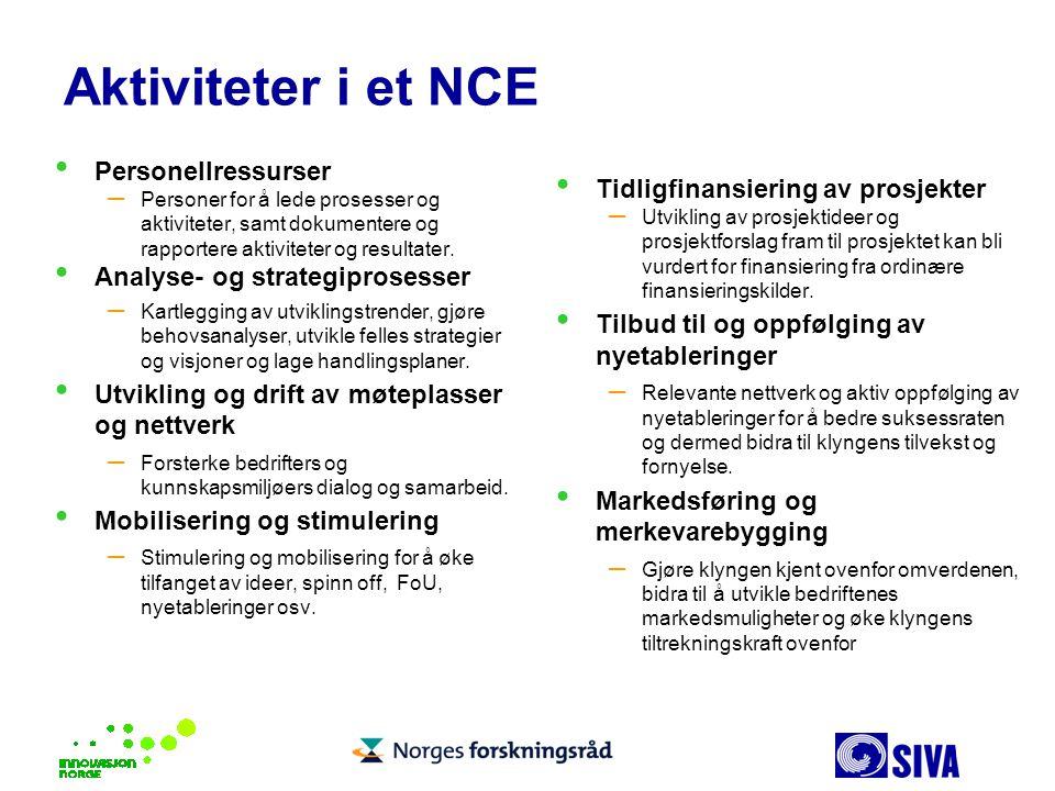 Aktiviteter i et NCE Personellressurser